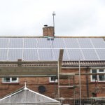 Solar panels being installed to property in Huntingdon